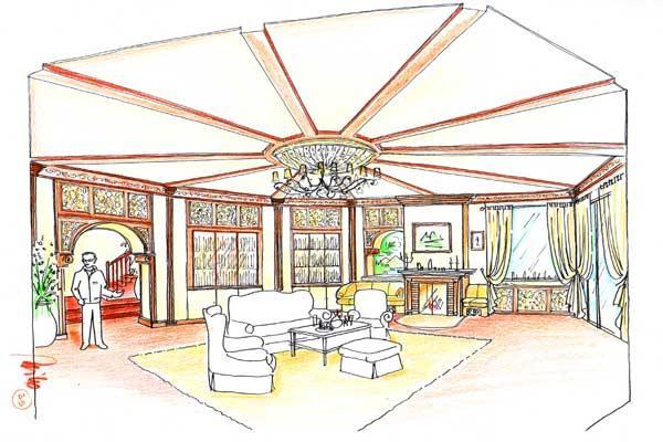 wohnzimmer zeichnung:Wohnzimmer Planung in einem Alpin Chalet – mit einer Holztrammdecke im