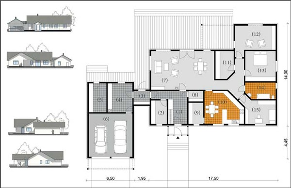 Grundriss Bungalow L Form : Bungalow U Form Grundriss  Bungalow with Garage Plans
